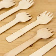 small wooden disposable party forks