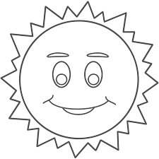 Small Picture Sun with Smiley Face Coloring Page Space