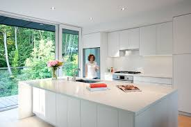 White modern kitchen ideas Backsplash Kitchen Design Ideas White Modern And Minimalist Cabinets These White Cabinets Reflect Contemporist Kitchen Design Idea White Modern And Minimalist Cabinets