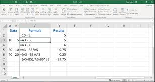 an example of entering cell references in an excel formula