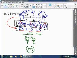 algebra i solving multi step equations involving fractions and decimals