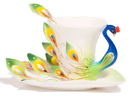 Amazon.com | Coffee Cup, Hand Crafted Porcelain Enamel Graceful Peacock Tea  Coffee Cup Set with Saucer and Spoon, Green By Angel's Wings: Cup & Saucer  Sets