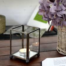 キャンドルホルダー ガラスボックス ガラスケース ディスプレイケース 小物入れ rectangular shaped candle holders made of brass and glass