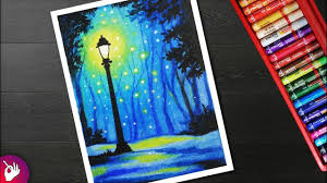 How To Draw Street Light Landscape Drawing For Beginners With Oil Pastel