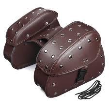 pair brown black universal pu leather motorcycle tool bag luggage saddlebags brown cod
