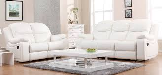 montreal blossom white reclining 3 2 seater leather sofa set sofa com