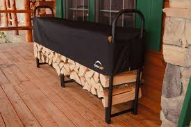 portable indoor firewood rack storage with black metal frame and fabric cover ideas