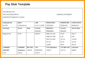 Payroll Pay Stub Template Free Paycheck Stub Template In Word New Free Pay Elegant