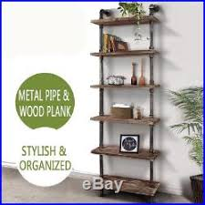 industrial style shelving. Industrial Style Bookcase Wall Shelves Ladder Iron Pipe Wooden Standing Books Shelving I