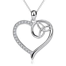details about 925 sterling silver cz good luck celtic trinity knot love heart necklace pendant