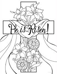 He Is Risen 2 Easter Coloring Pages For Children Products