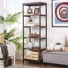 Somme Rustic Metal Frame 6-tier Bookshelf Media Tower by .