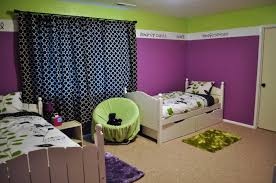 ... Blue And Purple Bedroom Beautiful Green Wood Cute Design Kids Room  Pretty Curtains Wall Paint Mattres ...