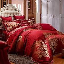 luxury bedding sets red gold duvet set bedroom