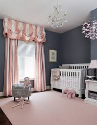 Designs Ideas:Gray And Pink Nursery With Gray Wall And Pink Curtains Also  White Baby
