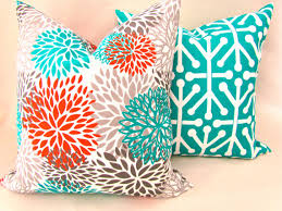 Teal And Orange Decorative Pillows