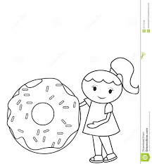 Small Picture The Girl And The Big Doughnut Coloring Page Stock Illustration