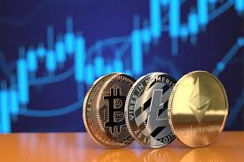 Crypto Coins In Front Of Stock Chart Free Image Download