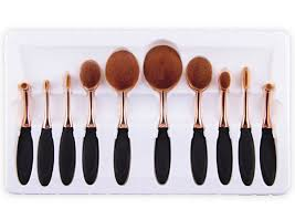 bulk rose gold handle 10pcs set tooth brush shape oval makeup brush set multipurpose makeup