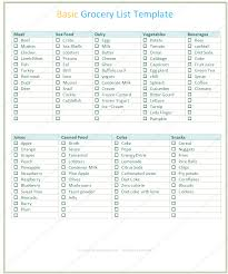 basic grocery shopping list basic grocery list template word list templates