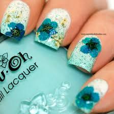 Nail Art – Floral design with dry flowers | | My Nail Polish Online