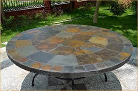 large round patio table looking for 63 round slate outdoor patio dining table stone oceane pertaining