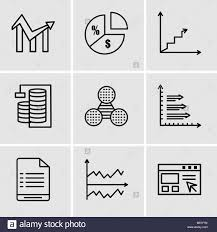 Chart Database Set Of 9 Simple Editable Icons Such As Data Import Interface