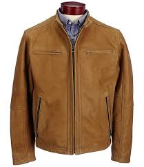 mens huge s roundtree yorke leather hipster jacket with tan m92g2319