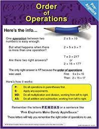 Amazon Uk Pre Order Chart Pre Algebra Chart Order Of Operations Amazon Co Uk Mark