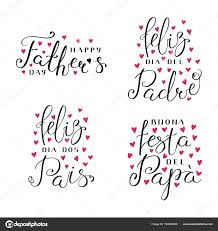 Set Hand Written Fathers Day Lettering Quotes Hearts English Spanish