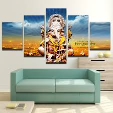 modern canvas painting hd printed wall art 5 pieces elephant trunk pictures india ganesh poster home decor living room frame in painting calligraphy