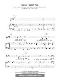 forget you piano sheet music never forget you noisettes by d smith g astasio j morrison j