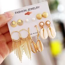 <b>Fashion</b> Geometric Gold <b>Stud Earrings</b> Set For Women <b>Shell</b> ...