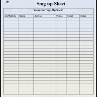 Activity Sign Up Sheet Template