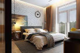 Bedroom Accent Wall Color Bedroom Chic Bedroom Accents With Brick Wall Also Wall Clock And