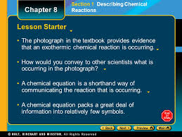 lesson starter the photograph in the textbook provides evidence that an exothermic chemical reaction is occurring