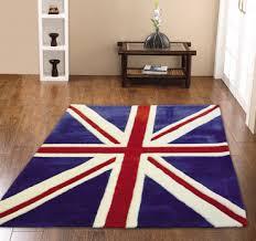 childrens mini union jack bright blue rugs 70cm x 100cm
