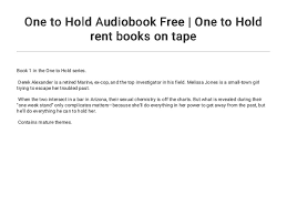 One To Hold Audiobook Free One To Hold Rent Books On Tape