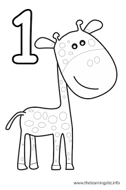 Small Picture coloring page number outline one giraffe Numbers shapes