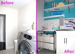 before and after diy makeover laundry room design with stone wall cladding backsplash white and light blue paint wall interior color decor plus basket  on wall color ideas for laundry room with before and after diy makeover laundry room design with stone wall