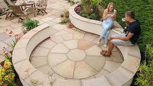 indian sandstone garden paving circle
