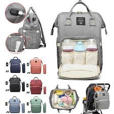 waterproof baby nappy diapers bags tote mummy travel usb port backpack cod