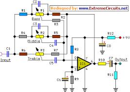 4 channel portable audio mixer circuit diagram tone control module schematic circuit diagram