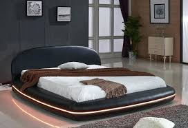 leather platform bed zinus deluxe faux upholstered king size black
