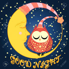 good night postcard with a dormant crescent a cute cartoon owl and text