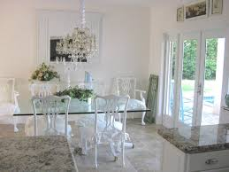Small Glass Kitchen Table Crystal Chandelier Beautiful Alight White Classic Wooden Chairs