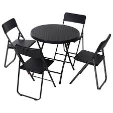 outsunny metal rattan 5 pcs foldable
