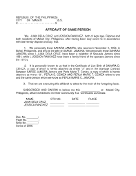 Affidavit Of Same Person Sample