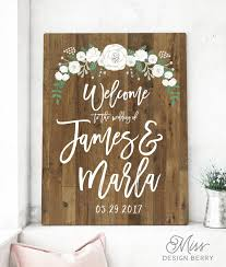 welcome your guests to your wedding with this rustic wood sign by miss berry design