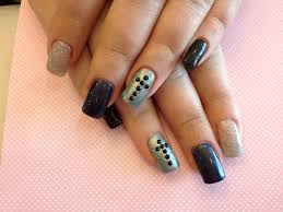Gel nails with Grey and black nail art - Nail Designs For You
